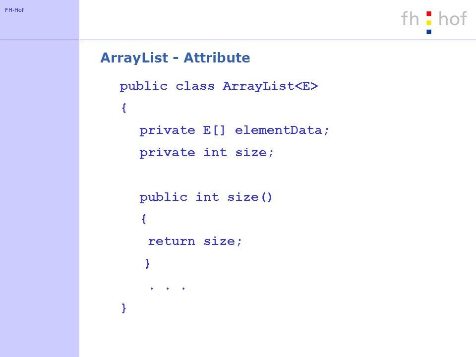 ArrayList - Attribute public class ArrayList<E> { private E[] elementData; private int size; public int size()